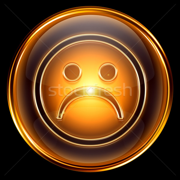 Smiley dissatisfied icon golden, isolated on black background. Stock photo © zeffss