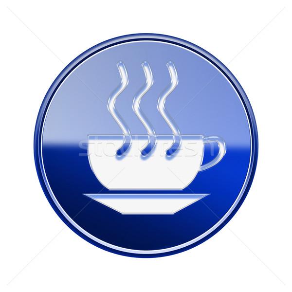 Stock fotó: Kávéscsésze · ikon · fényes · kék · izolált · fehér