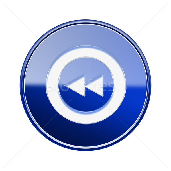 Rewind icon glossy blue, isolated on white Stock photo © zeffss