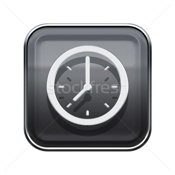 Clock icon glossy grey, isolated on white background Stock photo © zeffss