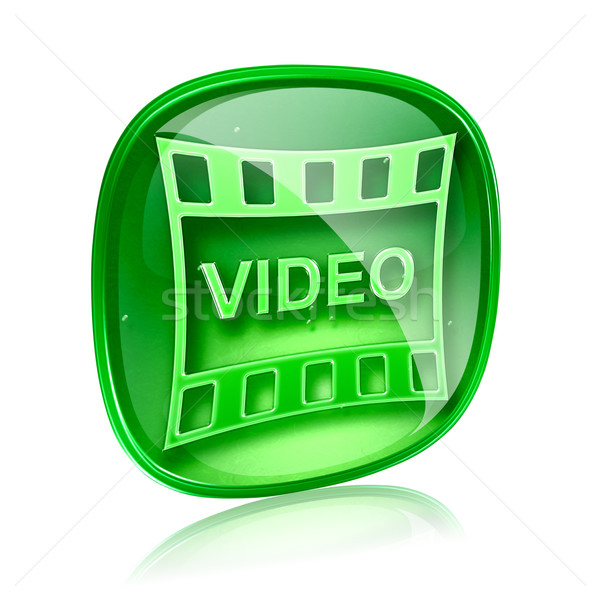 Film icon green glass, isolated on white background. Stock photo © zeffss
