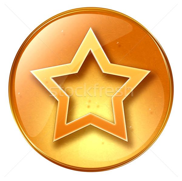 Сток-фото: звездой · икона · желтый · изолированный · белый · дизайна