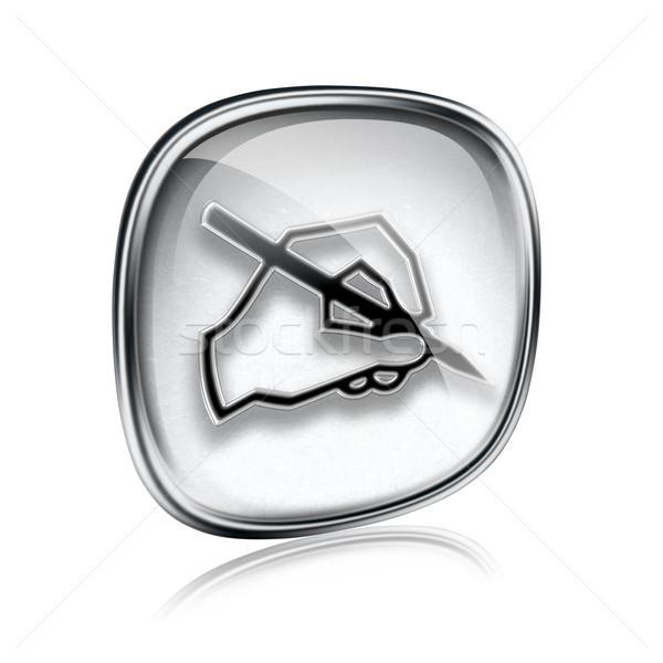 E-mail icon grijs glas geïsoleerd witte Stockfoto © zeffss