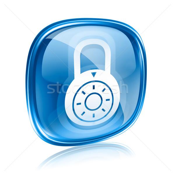 Blokady ikona niebieski szkła odizolowany Zdjęcia stock © zeffss
