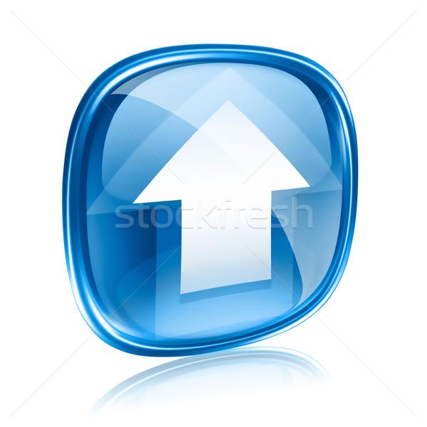 Upload icon blue glass, isolated on white background. Stock photo © zeffss