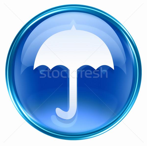 şemsiye ikon mavi yalıtılmış beyaz ışık Stok fotoğraf © zeffss