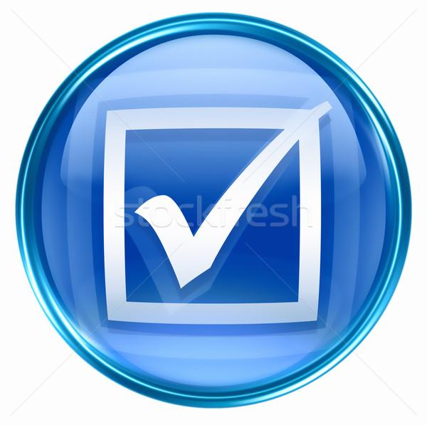 Kontrol ikon mavi yalıtılmış beyaz ışık Stok fotoğraf © zeffss