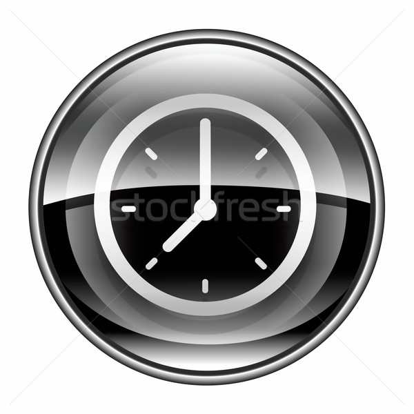 Stock photo: clock icon black, isolated on white background.