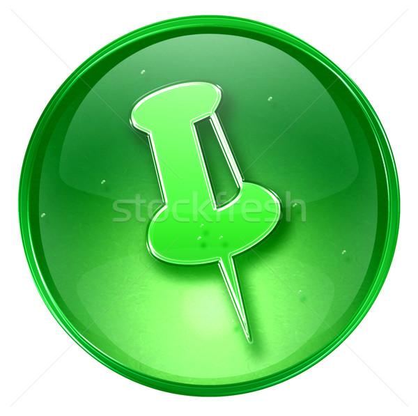 thumbtack icon green, isolated on white background. Stock photo © zeffss