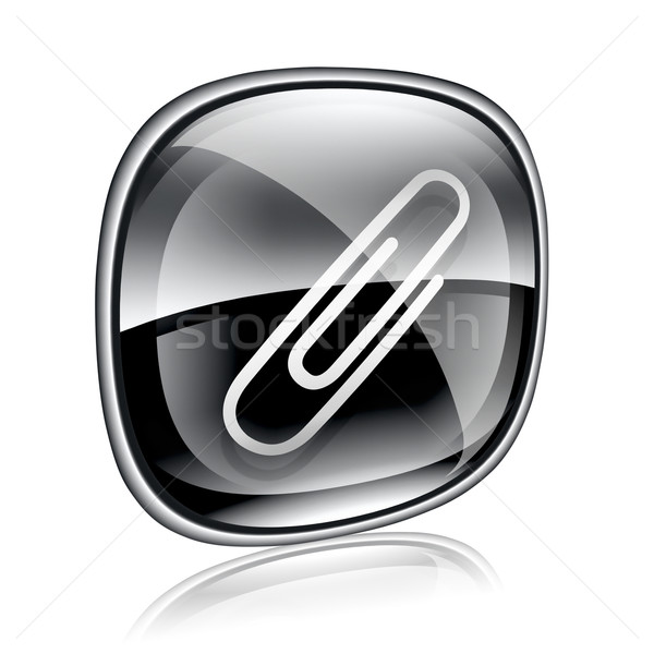 Stock photo: Paperclip icon black glass, isolated on white background