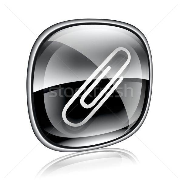 Spinacz ikona czarny szkła odizolowany biały Zdjęcia stock © zeffss
