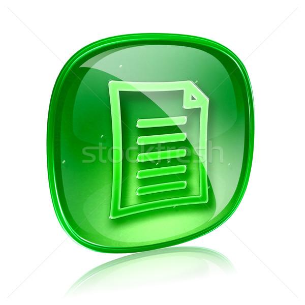 Document icon groene glas geïsoleerd witte Stockfoto © zeffss