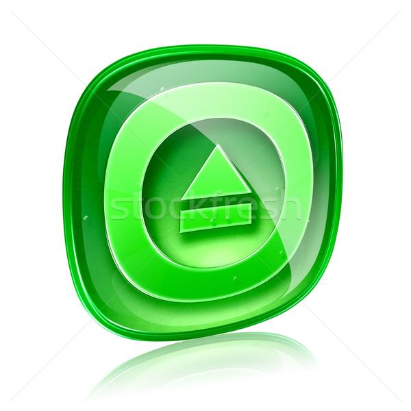 Stock fotó: Ikon · zöld · üveg · izolált · fehér · számítógép