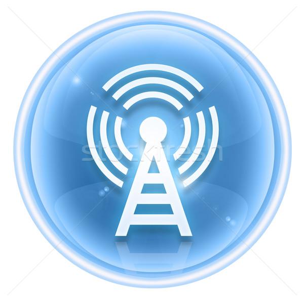Stock fotó: Wifi · torony · ikon · jég · izolált · fehér