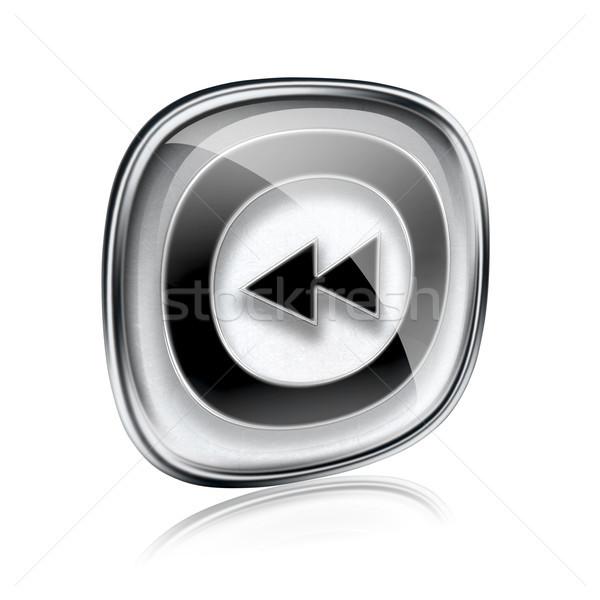 Rewind icon grey glass, isolated on white background. Stock photo © zeffss