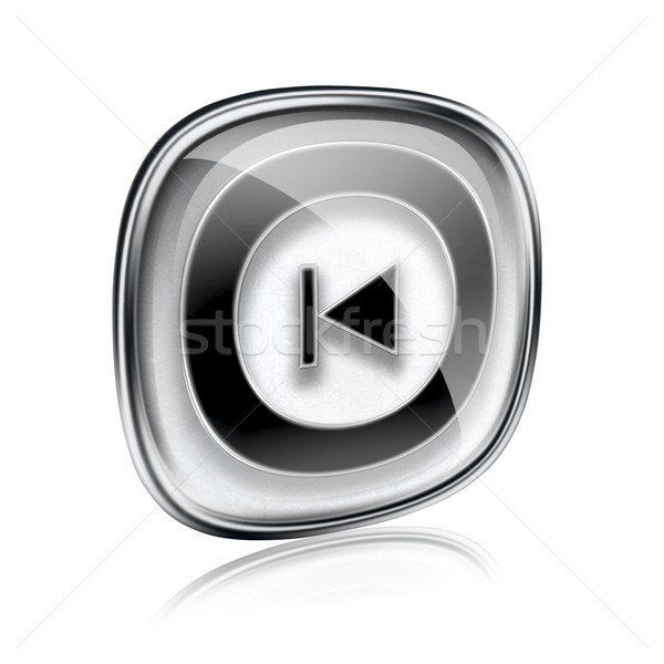 Rewind Back icon grey glass, isolated on white background. Stock photo © zeffss