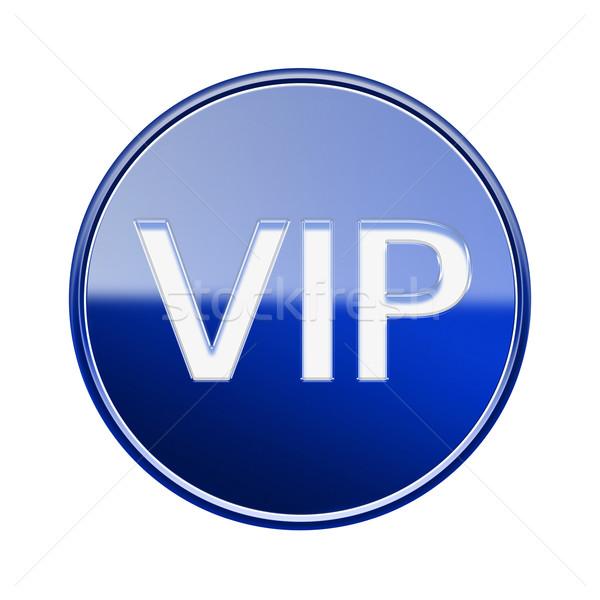 Foto stock: Vip · ícone · azul · isolado · branco