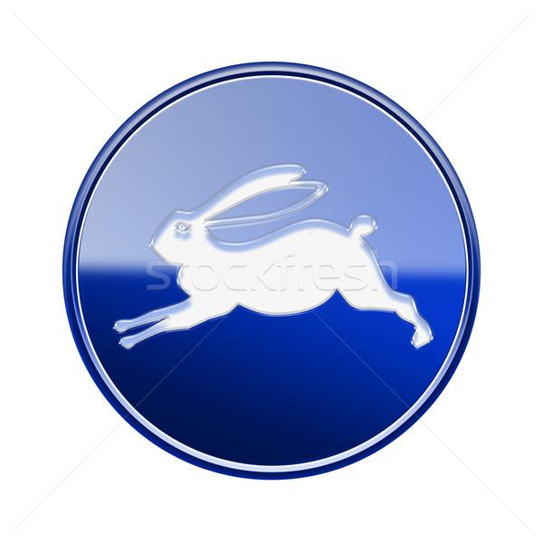 Rabbit Zodiac icon blue, isolated on white background. Stock photo © zeffss
