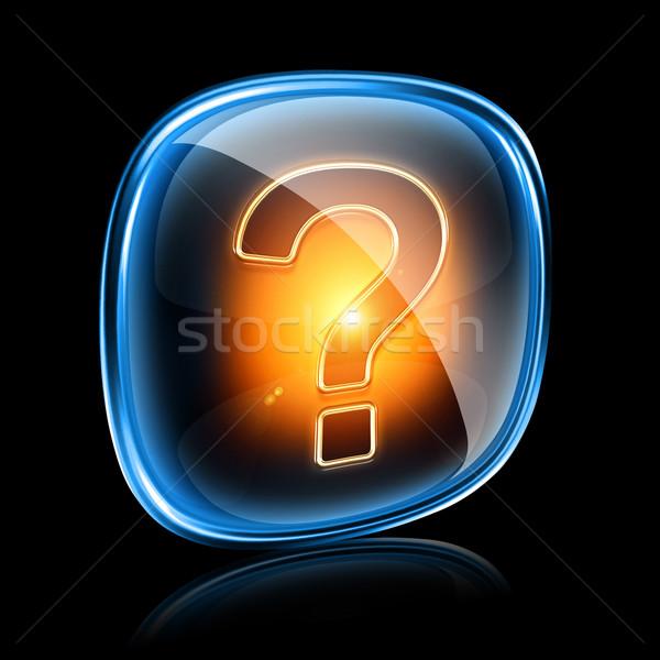 Helpen icon neon geïsoleerd zwarte internet Stockfoto © zeffss