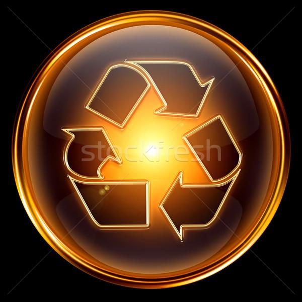 Сток-фото: рециркуляции · символ · икона · золото · изолированный · черный