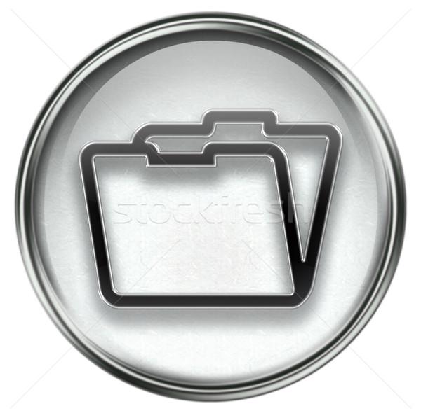 Folder icon grey Stock photo © zeffss