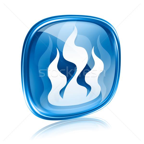 Stock foto: Industrie · Warnzeichen · blau · Glas · isoliert · weiß