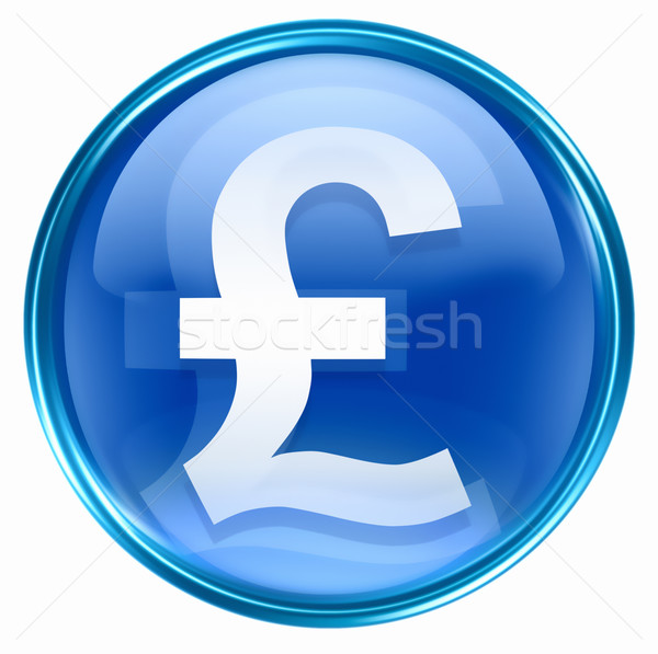 Pound icon blue, isolated on white background Stock photo © zeffss