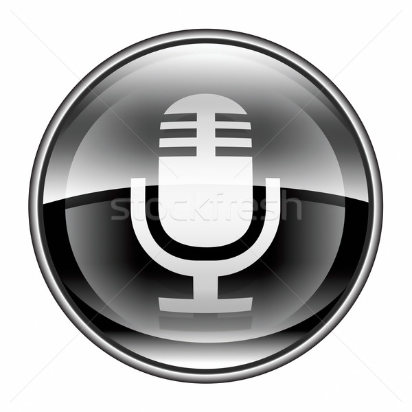 Microphone icon black, isolated on white background Stock photo © zeffss
