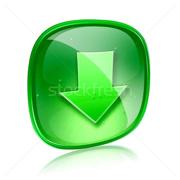 Simgesi indir yeşil cam yalıtılmış beyaz Internet Stok fotoğraf © zeffss