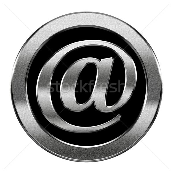 Сток-фото: электронная · почта · символ · серебро · изолированный · белый · компьютер