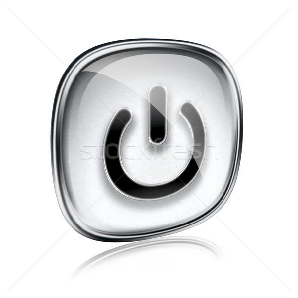 Potere icona grigio vetro isolato bianco Foto d'archivio © zeffss