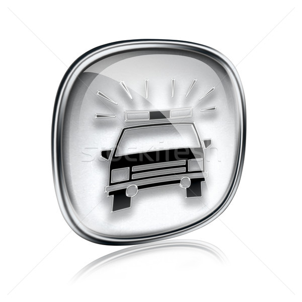 police icon grey glass, isolated on white background. Stock photo © zeffss