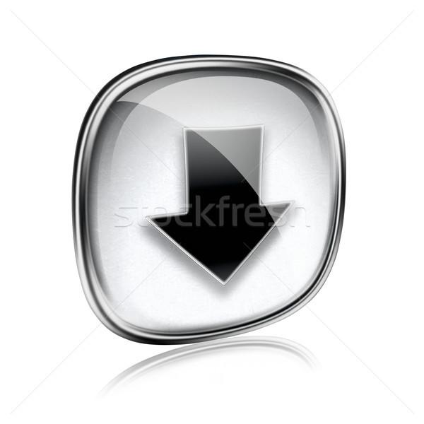 Icône de téléchargement gris verre isolé blanche ordinateur Photo stock © zeffss
