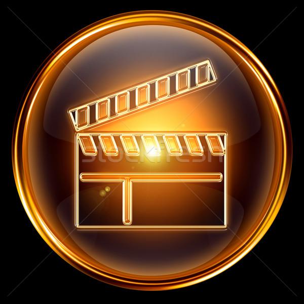 Film tahta ikon altın yalıtılmış siyah Stok fotoğraf © zeffss