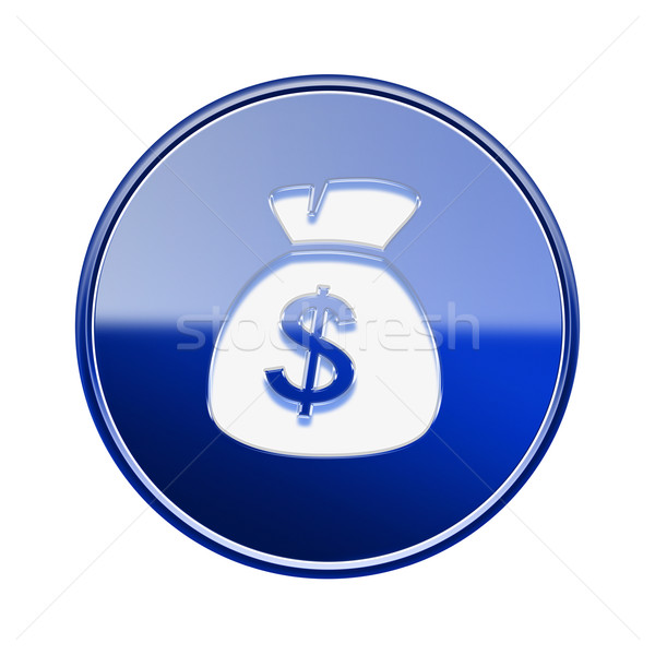 dollar icon glossy blue, isolated on white background Stock photo © zeffss