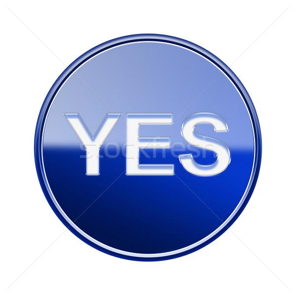 Tak ikona niebieski odizolowany biały Zdjęcia stock © zeffss