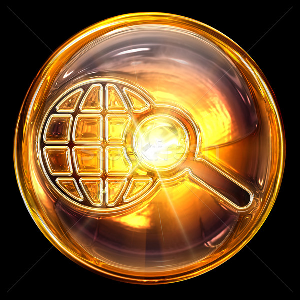 Stock photo: search icon fire, isolated on black background