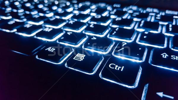 Neon billentyűzet belépés gomb fókusz üzlet Stock fotó © zeffss