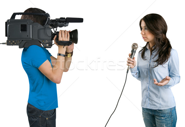 TV reporter presenting the news in studio, isolated on white bac Stock photo © zeffss