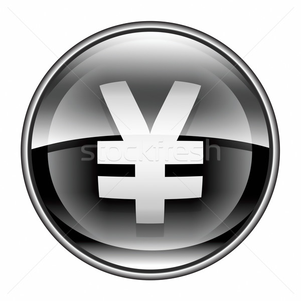 Yen icona nero isolato bianco business Foto d'archivio © zeffss