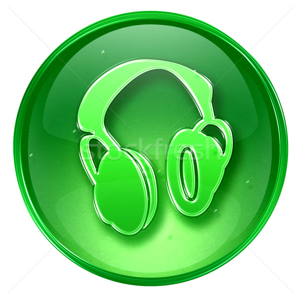 ストックフォト: ヘッドホン · アイコン · 緑 · 孤立した · 白 · 音楽