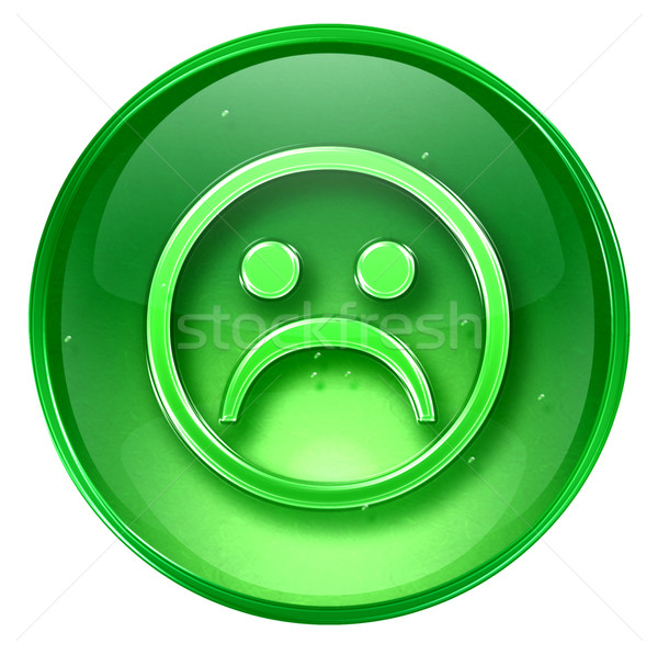 Smiley Face, dissatisfied green, isolated on white background. Stock photo © zeffss