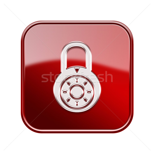Lock off icon glossy red, isolated on white background. Stock photo © zeffss