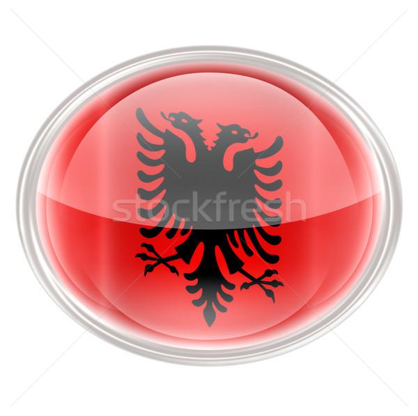 Albania Flag Icon, isolated on white background. Stock photo © zeffss