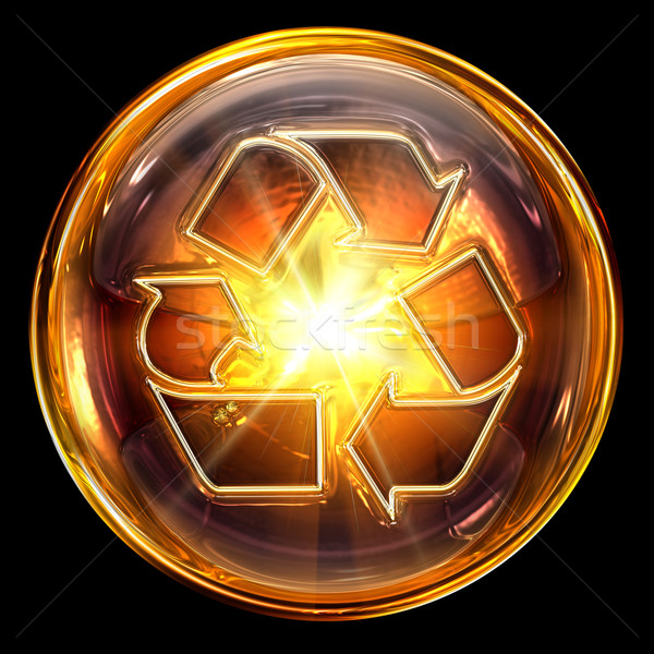 Stock photo: Recycling symbol icon fire, isolated on black background.