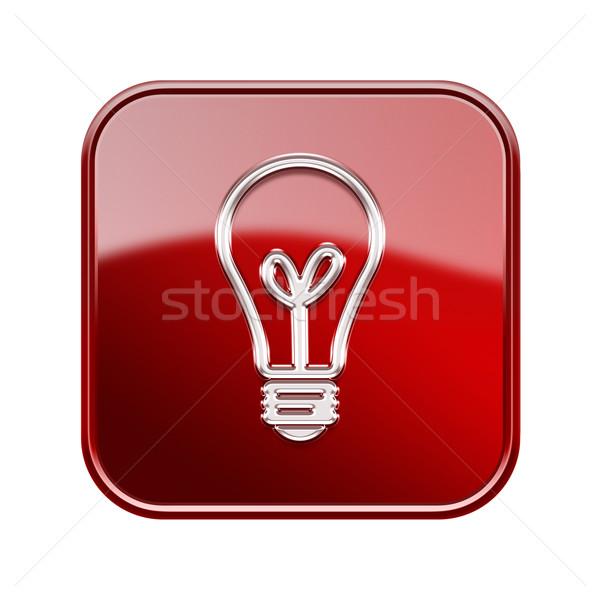 Villanykörte ikon fényes piros izolált fehér Stock fotó © zeffss