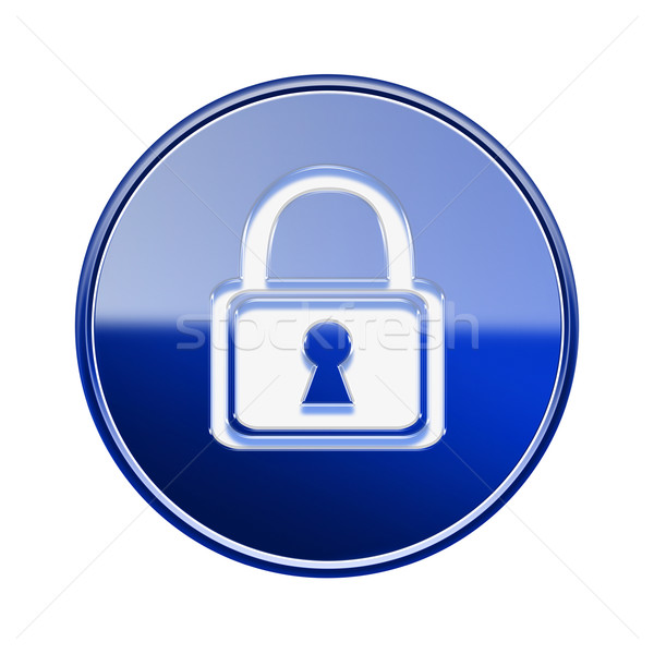 Lock icon glossy blue, isolated on white background Stock photo © zeffss