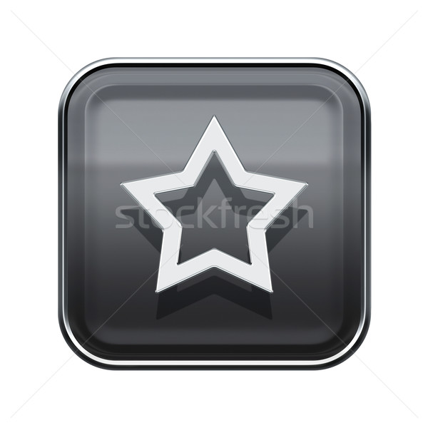 Star icon glossy grey, isolated on white background Stock photo © zeffss
