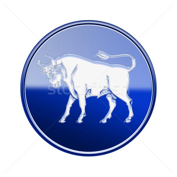 Stock photo: Taurus zodiac icon blue, isolated on white background