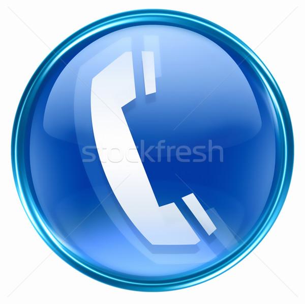 Foto d'archivio: Telefono · icona · blu · isolato · bianco · internet